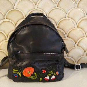 Yasmin Black Vegan Leather Mini Backpack Floral